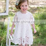 Fashion Children Girl Lace Rosette Crochet Flower Dress with Soft Cotton Lining Accept OEM Labeling