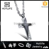 2016 simple gold pendant design stainless steel star necklace with cross for wedding gifts