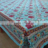 Flower Blossom Jade Indian Hand Block Printed cotton tablecloth