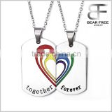 2pcs Mens Womens Stainless Steel Love Heart Puzzle Pendant Rainbow Love Couples Lesbian Gay Pride Necklace                                                                         Quality Choice