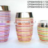 CP054HWSH2 hand-painted glass jar with chromed plastic lid