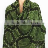 Green Flower Pattern Printed Cashmere Scarf