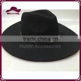 Womens Winter Wool Fedora Hat Trilby Jazz Cap Wide Brim Bowler Black Color