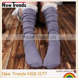 Fashion girl grey cotton sock crochet top socks knee high tube
