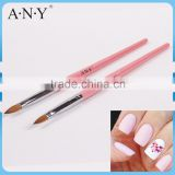 ANY Nail Art Care Pink Wood Handle Kolinsky Pure Sable Brush for Acrylic Nails