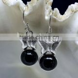 Black Onyx Butterfly Shaped Cabochon 925 Sterling Silver Earrings, Fashionable Bezel Earrings, Designer 925 Silver Earrings