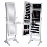Where To Buy White Mirrored Jewelry Cabinet Mirror Organizer Armoire Storage Box Ring W/Stand