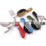 Hot sale Camping Hiking Hunting Spoon Fork Opener Army Knife /Portable Folding camping Multi Tool