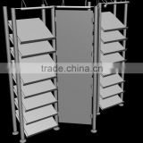 Metal design book shelf, retail metal fashion shelves for book stores, book store fixtures