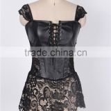 Factory directly hot sale black leather sexy full size gothic corset dress
