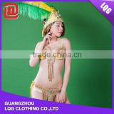 Fashion gold bling rhinestone beaded samba style sexy carnival costumes