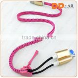 High speed 2 in 1 zipper USB cable 5 pin to 8 pin micro usb charging cable for