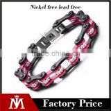 Black and red color 316 L stainless steel bike chain bracelet with crystal stone