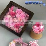 cheap home decoration Preserved Flower Photo Frame including pink rose, hydrangea,leaves,and rice flower