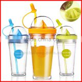 Fruit Infusing Infuser Water Bottle Sports Lemon Juice Bottle For Water Straw Coffee Milk Tea Cup Water Tumbler Child Bottles