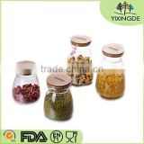 kitchenware Airtight Wholesale glass jars with bamboo lid