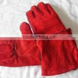 2012 hot sale durable cow split leather glove/long Welding Gloves/safety glove/red,yellow,grey,black,white,brown