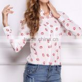 2017 new arrival red lip print chiffon ladies long sleeve shirts