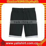Good quality summer 100% cotton plain bermuda shorts half pants for men with curved bottom