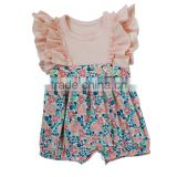 cute baby girl flutter summer knit cotton rompers 0-2years bubbles babysuit clothing sets
