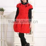 Korean Baby Clothing Baby Girls Party Dress Winter Woolen red Dress with hat