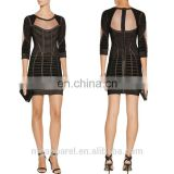 wholesale women clothing mesh trimmed long sleeves sexy short mini black bandage dress