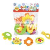 Cute Animal Colorful 5 Pieces Infant Baby Play Set Non-toxic Rattle Teething Ring