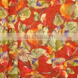 Brown Cordate Leaf Woolen Printed Fabric