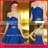 Hot Sale Sweetheart Beaded Pleated Chiffon Discount Cheap Royal Blue Short Cocktail Prom Dress