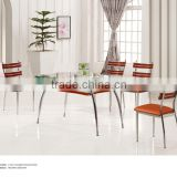 Dining Room Furniture 6 seats lass top wooden dining table set And PU metal Chiars For Sale