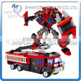 Mini Qute DIY boy 2 in 1 change robot super hero fire truck action figure plastic building block models educational toy NO.25711