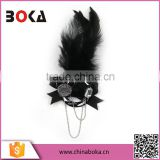Handmade party rhinestone flower black new design leaf shape fashion flower sequin brooch