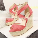 Big size ladies wedges sandals High quality PU upper and lining women's sandals summer wedge shoes size 35-43