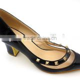 shining patent leather Women pointed toe dress shoes office lady middle heel shoes with rivet and plastic