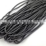 "5 Strands Natural Hematite Smooth Rondelle Balls 4-4.5mm 16"" Long Beads Strand,Handmade Beads Strand,Drilled Beads"