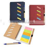 Notebook with double Rings flags sticky notes with pen/spiral notebook with sticky note&spiral notebook with sticky note