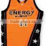 100% Polyester Basketball Custom Team Uniform Shirt in Orange with Black Panels Stars printed