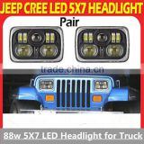 "2 x LED Headlight 5"" X 7"" LED Headlamps Hi/low Beam Boat Track RV ATV Spot 6000K 88W Square Led Work Light"