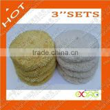 "3""/50 pcs 100% Wool buffing pad for car care(white & yellow)"