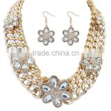Fashion Statement Necklace Earrings Set Multilayer Rope Chain Heavy flower set Handmade Weaving Necklace set
