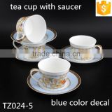 With Blue Color Butterfly Decal 250ml Bone China Coffee Cup Round Shape Ceramic Cup with Saucer