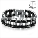 Masculine Mens Stainless Steel link Bracelet Two-tone Soft Black Silicone Bike Chain Bangle