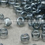 11/0 Glass Seed Beads, Transparent Lustered, Gray Micro Beads(SEED-Q011-F526)