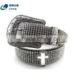 Wholesale Cheap Western Cross Hardware Studded Rhinestone Strap Belt With Flower Buckle Set