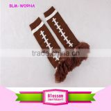 Newest arrival in stock football pattern brown wholesale adult polyester fabric baby leg warmers with brown chiffon ruffle trim