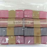 HOT SALE! Red/White Checked / Tartan Polyester Woven Fabric Ribbon, Tartan Woven ribbon for Gift Wrapping