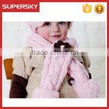 A-732 children fleece cable knit scarf kids polar fleece scarves with flower design baby fleece knitted scarf with flower