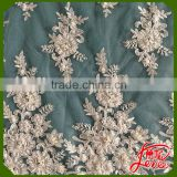 2016 New Year Design Sequins and Beads Embroidery Tulle Lace Fabric                                                                         Quality Choice
