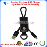 Customized Leather Keychain USB Charger Sync Data Cable for iphone samsung                                                                         Quality Choice