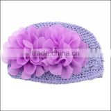 Fashion hot pink Wholesale baby hats flower beanie baby hats